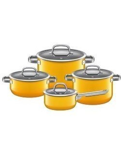 WMF - Zestaw 4 garnków, żółty, Fusion Tec Mineral