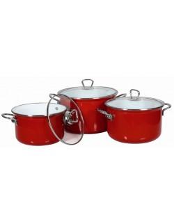 CALIPSO komplet garnków emaliowanych czerwonych 6 elementowy
