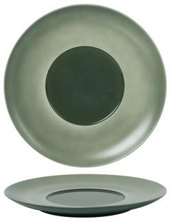 Talerz płaski z szerokim rantem 300 mm - Ambition Satin Green