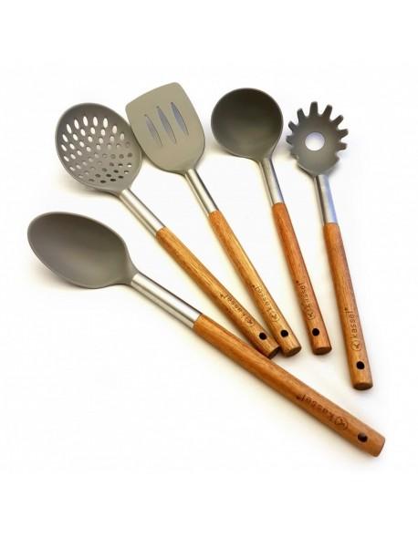 5 elementowy zestaw akacjowych przyborów kuchennych Kassel 93571