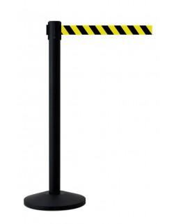 Słupek czarny malowany proszkowo z taśmą 400 cm ostrzegawczą
