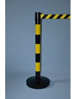 Słupek przemysłowy żółto-czarny z taśmą ostrzegawczą 400 cm