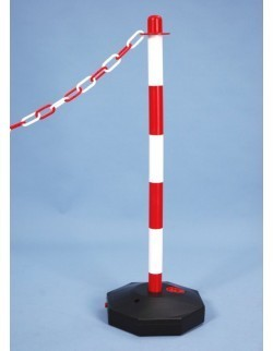 Słupek odgradzający z tworzywa sztucznego biało-czerwony do łańcucha