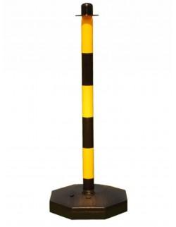 Słupek odgradzający z tworzywa sztucznego żółto-czarny do łańcucha