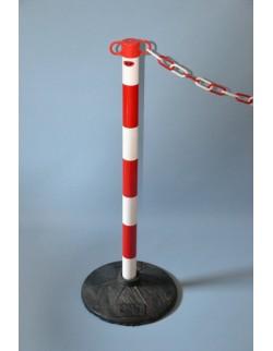 Słupek odgradzający z tworzywa sztucznego JSP biało-czerwony do łańcucha