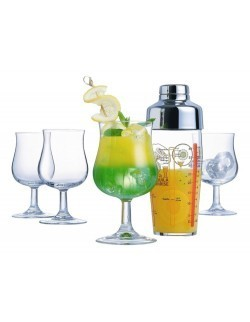 Komplet do drinków Bacchus - shaker 580 ml + 4 kieliszki 380 ml LUMINARC