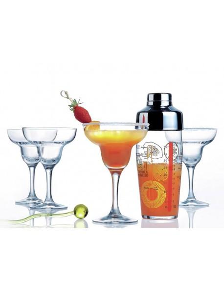 Komplet do drinków Margarita T - shaker 580 ml + 4 kieliszki 270 ml LUMINARC