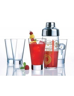 Komplet do drinków Shetland - shaker 580 ml + 4 szklanki 350 ml LUMINARC