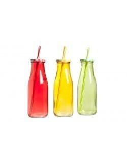 Butelka ze słomką 450 ml, mix kolorów - komplet - Cosy & Trendy