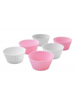 Komplet 6 foremek AMBITION Sweet do muffinek różowo-szare