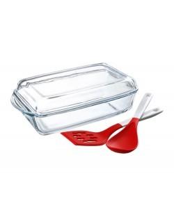 Naczynie żaroodporne PASABAHCE Guzzini z pokrywką, szpatułką i łyżką 2,75 l + 1,37 l
