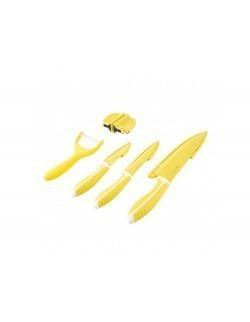 Komplet 3 noży z ostrzałką i obieraczką AMBITION Nordic żółty