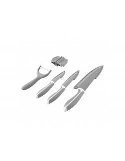 Komplet 3 noży z ostrzłką i obieraczką AMBITION Nordic szary