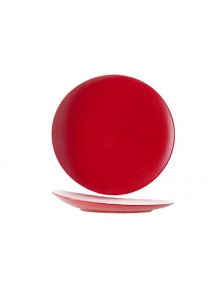 Talerz płaski z uniesionym rantem 310 mm czerwony - ARIANE Dazzle Red