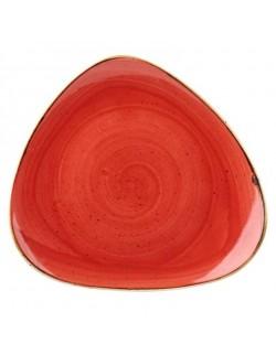 Talerz trójkątny 229 mm czerwony - CHURCHILL Stonecast Berry Red
