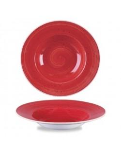Talerz głęboki z szerokim rantem 284 ml czerwony - CHURCHILL Stonecast Berry Red