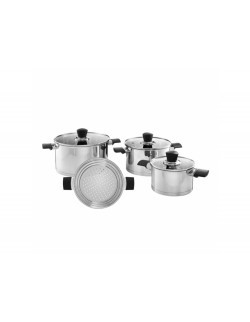 Komplet garnków AMBITION Inox 7-elementowy z wkładem do gotowania na parze