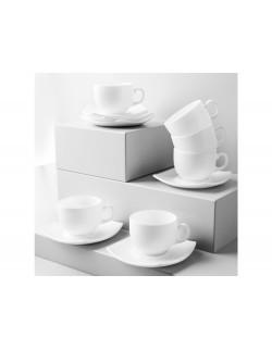 Komplet kawowy LUMINARC Quadrato 220 ml 12-elementowy biały