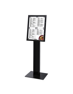 Wolnostojący stojak na menu w kolorze czarnym 4 x A4 / LED