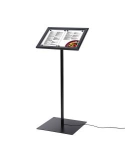 Zamykany stojak na menu w kolorze czarnym podświetlany LED - 2 x A4