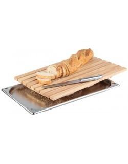 Deska prostokątna drewniana do krojenia pieczywa z tacą na okruchy GN 1/1 530 x 325 mm APS