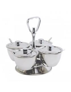 Obrotowe naczynie do serwowania ze stali nierdzewnej na 4 pojemniki - GenWare