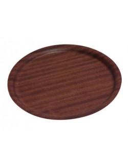Taca antypoślizgowa z ciemnego drewna 27 cm GenWare