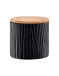 Pojemnik ceramiczny AMBITION Tuvo czarny z wytłoczeniami z bambusową pokrywką 670 ml