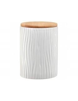 Pojemnik ceramiczny AMBITION Tuvo biały z wytłoczeniami z bambusową pokrywką 1110 ml