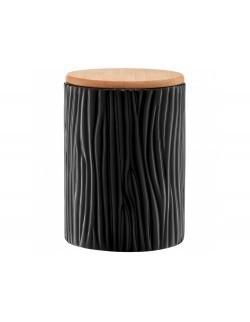 Pojemnik ceramiczny AMBITION Tuvo czarny z wytłoczeniami z bambusową pokrywką 1110 ml
